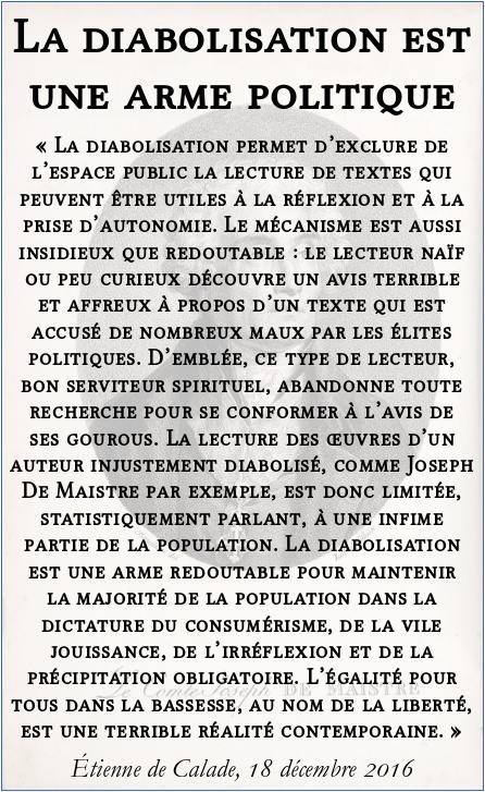 la_diabolisation_est_une_arme_politique_joseph_de_maistre_mondialisation_etienne_de_calade